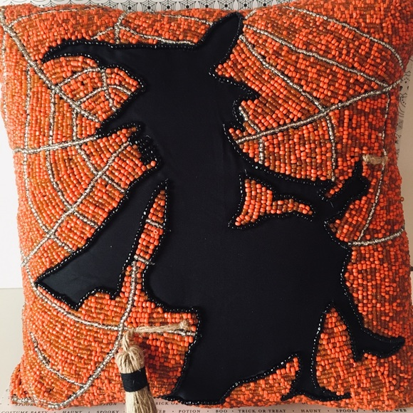 Halloween Flying Witch on Broom Beaded Pillow Web